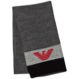 Armani Junior Black and Grey Logo Scarf