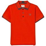 Armani Junior Orange Classic Logo Pique Polo