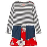 Joules Cream and Navy Stripe and Floral Dress with Chambray Pockets