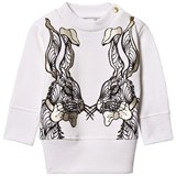 Karen Brost White Sweatshirt with Funny Bunnies print