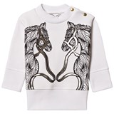 Karen Brost White Sweatshirt with Horse Play print
