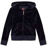 Juicy Couture Navy Jewelled Scotty Logo Velour Hoody