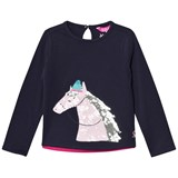 Joules Navy Sequin Horse Print Long Sleeve Tee