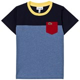 Lacoste Blue and Navy Colour Block Pocket Tee