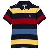 Lacoste Navy and Multi Colour Stripe Pique Polo
