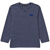 Acne Studios Grey Melange and Royal Blue Stripe Mini Napa Face T-Shirt
