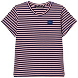Acne Studios Pale Pink and Royal Blue Stripe Mini Napa Face T-Shirt