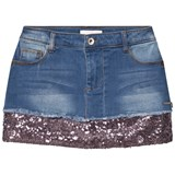 Guess Blue Mid Wash Denim Skirt with Sequin Hem