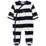 Absorba Navy and White Cloud Applique Stripe Velour Babygrow