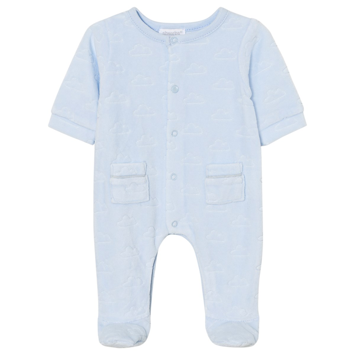 dd2870ed89d3 Absorba Pale Blue Cloud Velour Babygrow