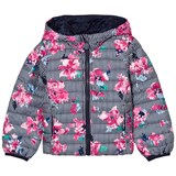 Joules Pink Multi Stripe and Floral Print Packaway Puffer Jacket
