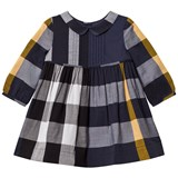 Burberry Navy Check Liz Long-Sleeved Dress