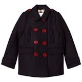 Burberry Navy Willow Wool Double Breasted Coat