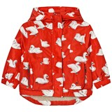 Stella McCartney Kids Red Swan Print Rhonda Hooded Coat