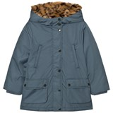 Stella McCartney Kids Blue Blythe Hooded Jacket with Tiger Faux Fur Lining