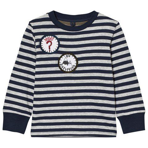 Stella McCartney Kids Navy and White Badge Detail Striped Tee