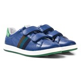 Paul Smith Junior Blue Leather Double Velcro Strap Trainers
