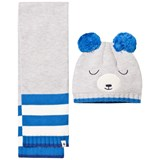 Billybandit Grey Bear Pomo Pom Hat and Scarf Set