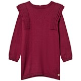 Carrément Beau Burgundy Knit Dress with Frill Shoulders