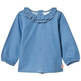 Carrément Beau Blue Chambray Frill Blouse
