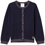 Carrément Beau Navy Lurex Rib Knit Cardigan
