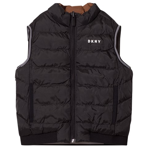 DKNY Black Puffer Gilet Reversible into Brown
