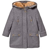 Chloé Grey Wool Coat with Faux Fur Lined Hood
