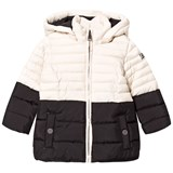 Karl Lagerfeld Kids Black and Cream Puffer Coat with Faux Fur Hood