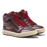 Geox Brown Jr Arzach Nappa Leather Velcro and Zip Trainers