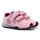 Geox Pink Glitter and Diamante Winged New Jocker Velcro Trainers