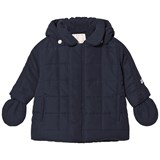 Emile et Rose Navy Padded Hooded Coat with Detachable Mittens