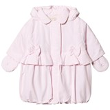 Emile et Rose Pale Pink Padded Bow Front Coat with Detachable Mittens