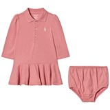 Ralph Lauren Pink Long Sleeve Polo Dress with Small PP