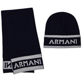 Armani Junior Navy and Grey Branded Hat and Scarf Set