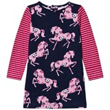 Hatley Pink and Navy Horse Print Jersey Dress