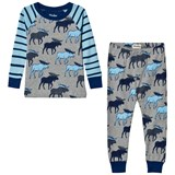Hatley Blue and Navy Raglan Moose Print Pyjamas