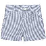United Colors of Benetton White and Blue Stripe Chino Shorts