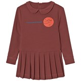 The Animals Observatory Red Garnet Face Print Canary Kids Dress