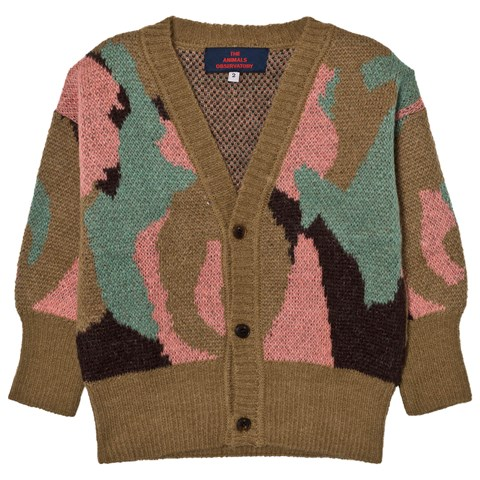 The Animals Observatory Khaki Printed Knit Cardigan