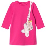 Little Marc Jacobs Pink Ballet Shoe Print Long Sleeve Jersey Dress