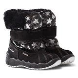 Primigi Black and Sequin Star and Faux Fur Gore Tex Snow Boots