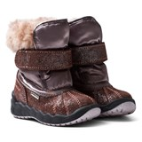 Primigi Pink and Bronze Glitter Faux Fur Gore-Tex Snow Boots