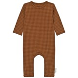 Tinycottons Brown and Black Grid Onesie