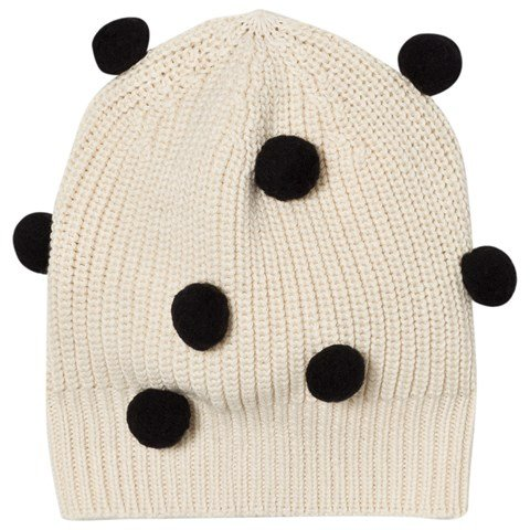 Tinycottons Beige and Black Pom Poms Beanie