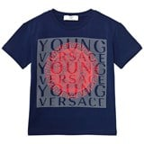 Young Versace Blue and Red Medusa Branded Tee