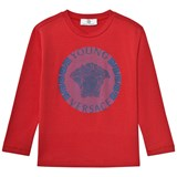 Young Versace Red and Blue Medusa Long Sleeve Tee