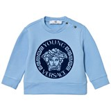 Young Versace Pale Blue and Navy Gel Medusa Sweatshirt