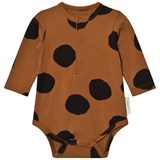 Tinycottons Body Brown and Black Pom Poms Long Sleeve Body