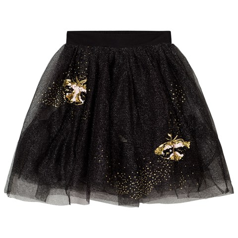 Billieblush Black and Gold Glitter Embroidered Butterfly Tulle Skirt