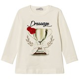 Monnalisa White Dressage Print and Embroidered T-Shirt